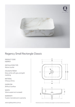 Eight Quarters Basins - Regency Small Rectangle Classic