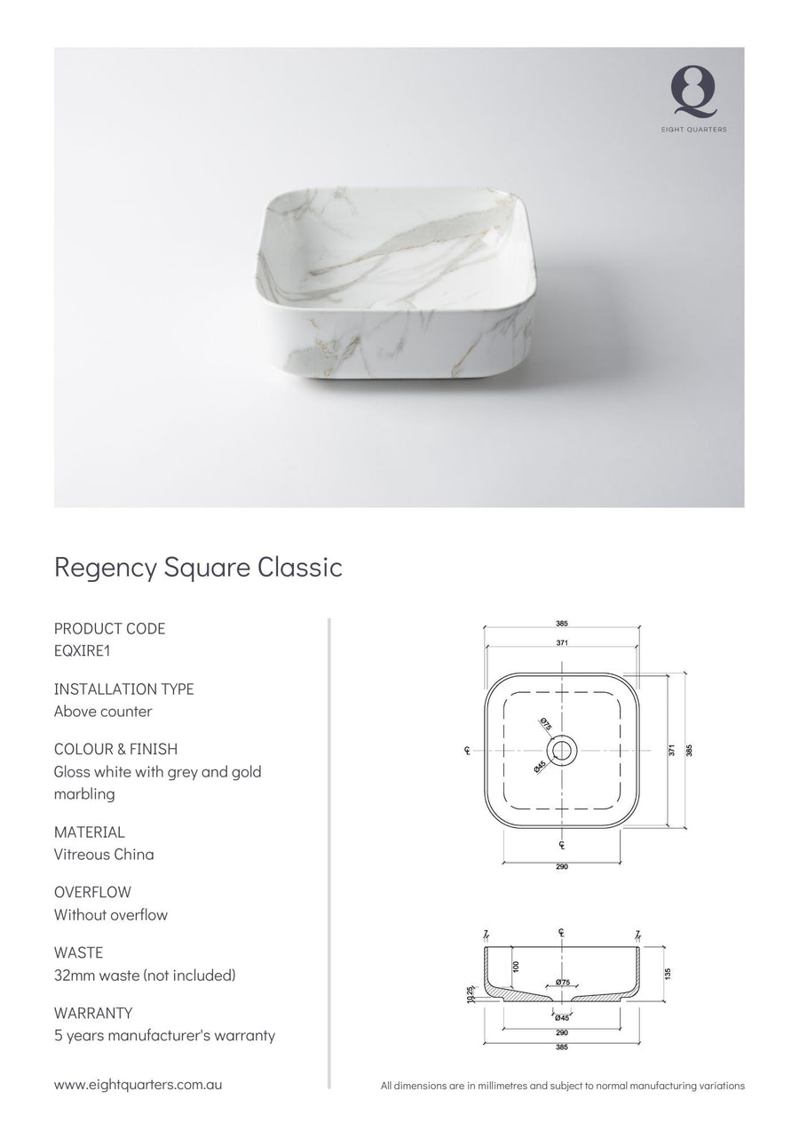 Eight Quarters Wash Basin - Regency Square Classic