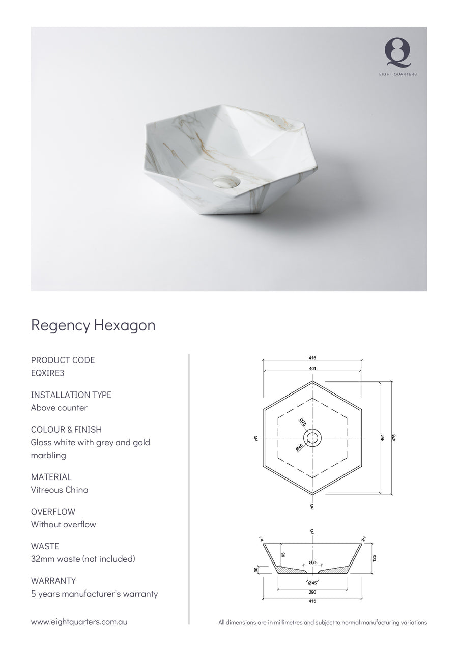 Eight Quarters Wash Basin - Regency Hexagon