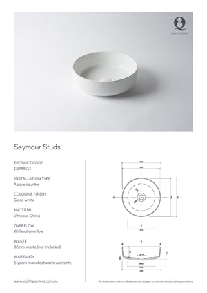 Eight Quarters Wash Basin - Seymour Studs Specs