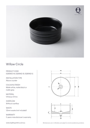 Eight Quarters Wash Basin - Willow Circle Specs