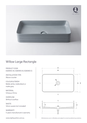 Eight Quarters Wash Basin - Willow Large Rectangle Specs