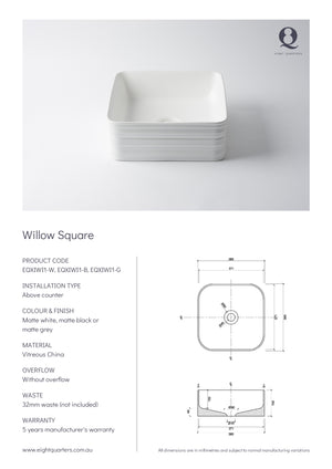 Eight Quarters Wash Basin - Willow Square Specs