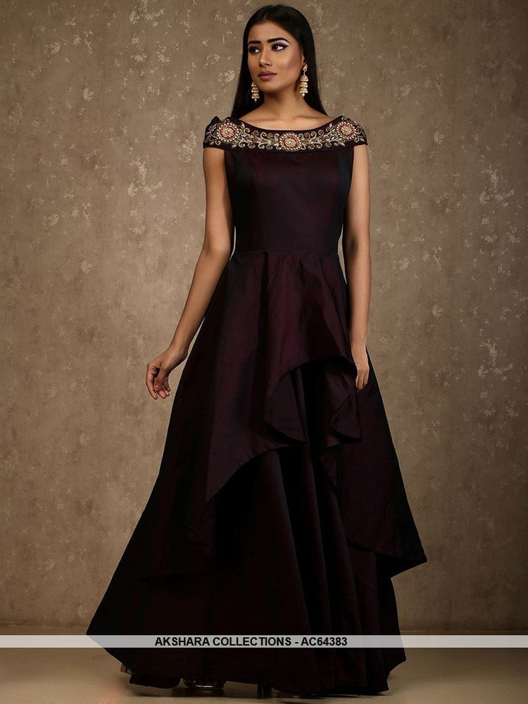 4c7839b130a48 AC64383 - Dark Maroon Color Satin Tafeta Gown – Akshara Collections ...