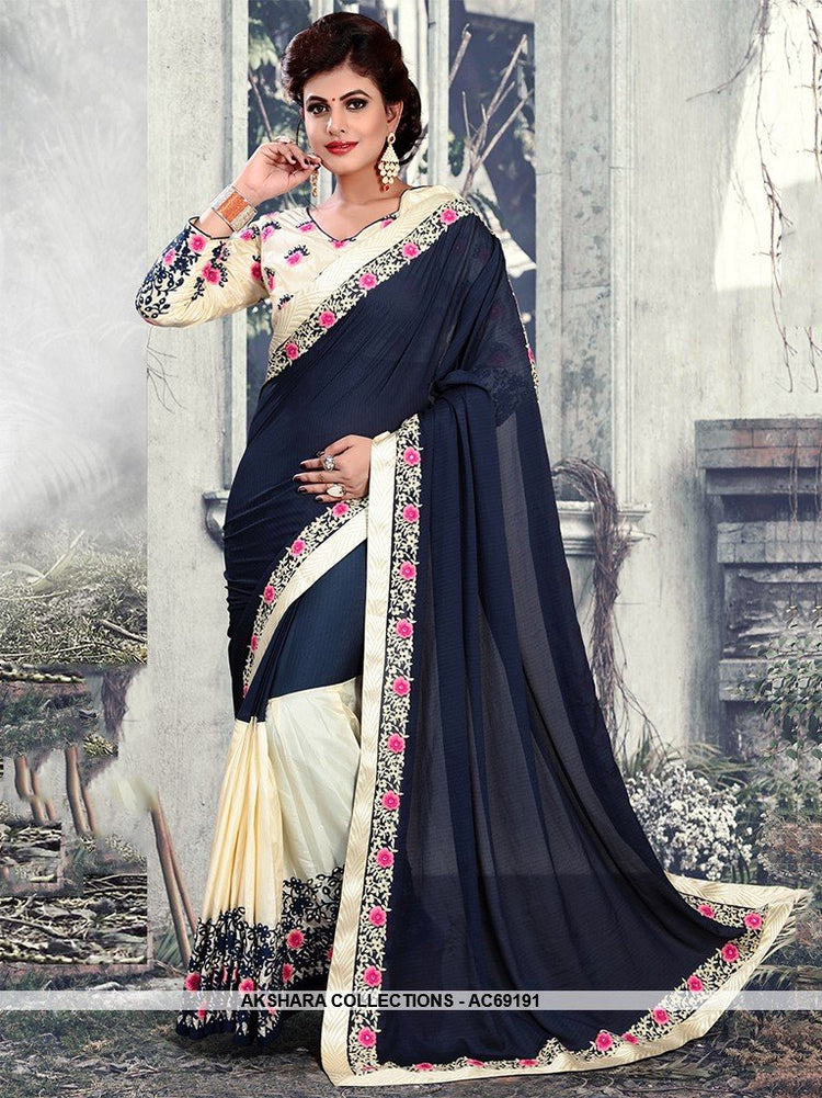51cfabe5d AC69191 - Navy Blue and Cream Color Georgette and Weightless Saree ...