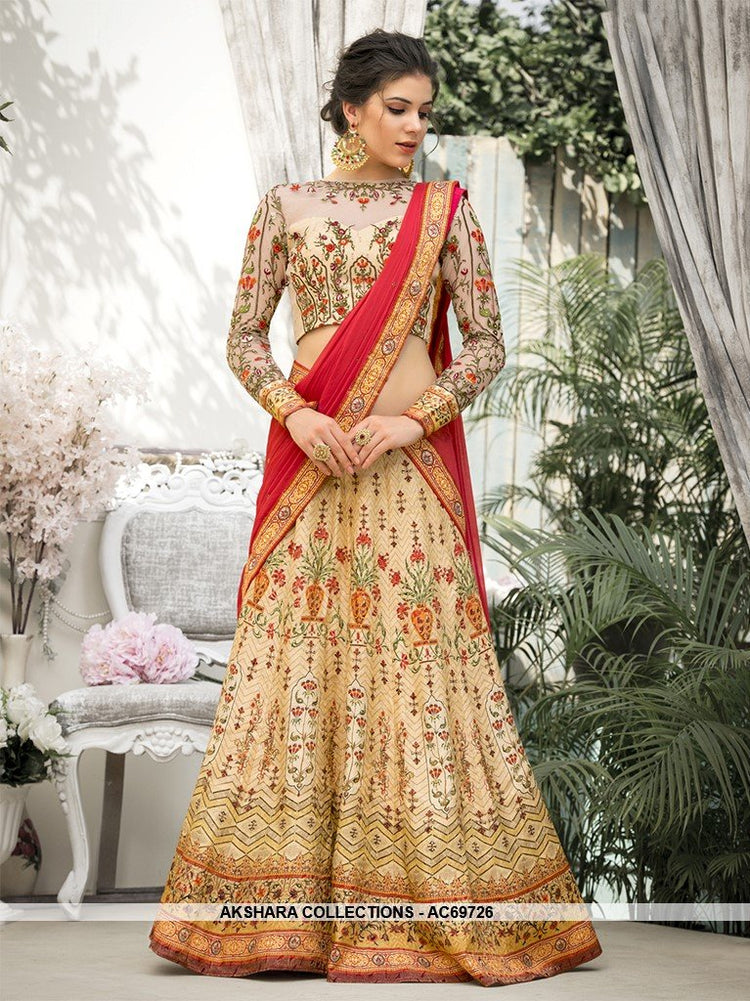 ed928cb810 AC69726 - Cream Color Pure Banarasi Silk Lehenga Choli – Akshara ...