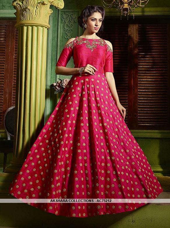 fc397a2a92 AC75212 - Pink Color Jacquard Gown – Akshara Collections Nepal