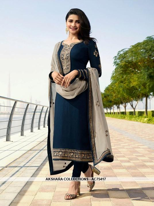 386a73ca1b37 AC75417 - Navy Blue Color Georgette Satin Churidar Suit – Akshara  Collections Nepal