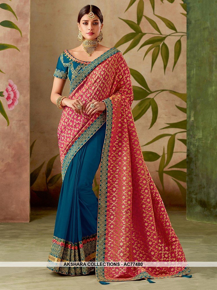a08a54c371bc18 AC77480 - Pink and Blue Color Jacquard Silk and Art Silk Half n Half Saree