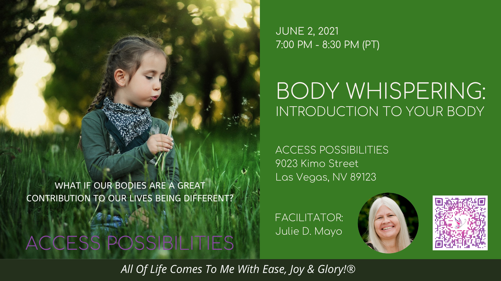 Introduction To Your Body Live Class Details | June 2, 2021 | Access Possibilities