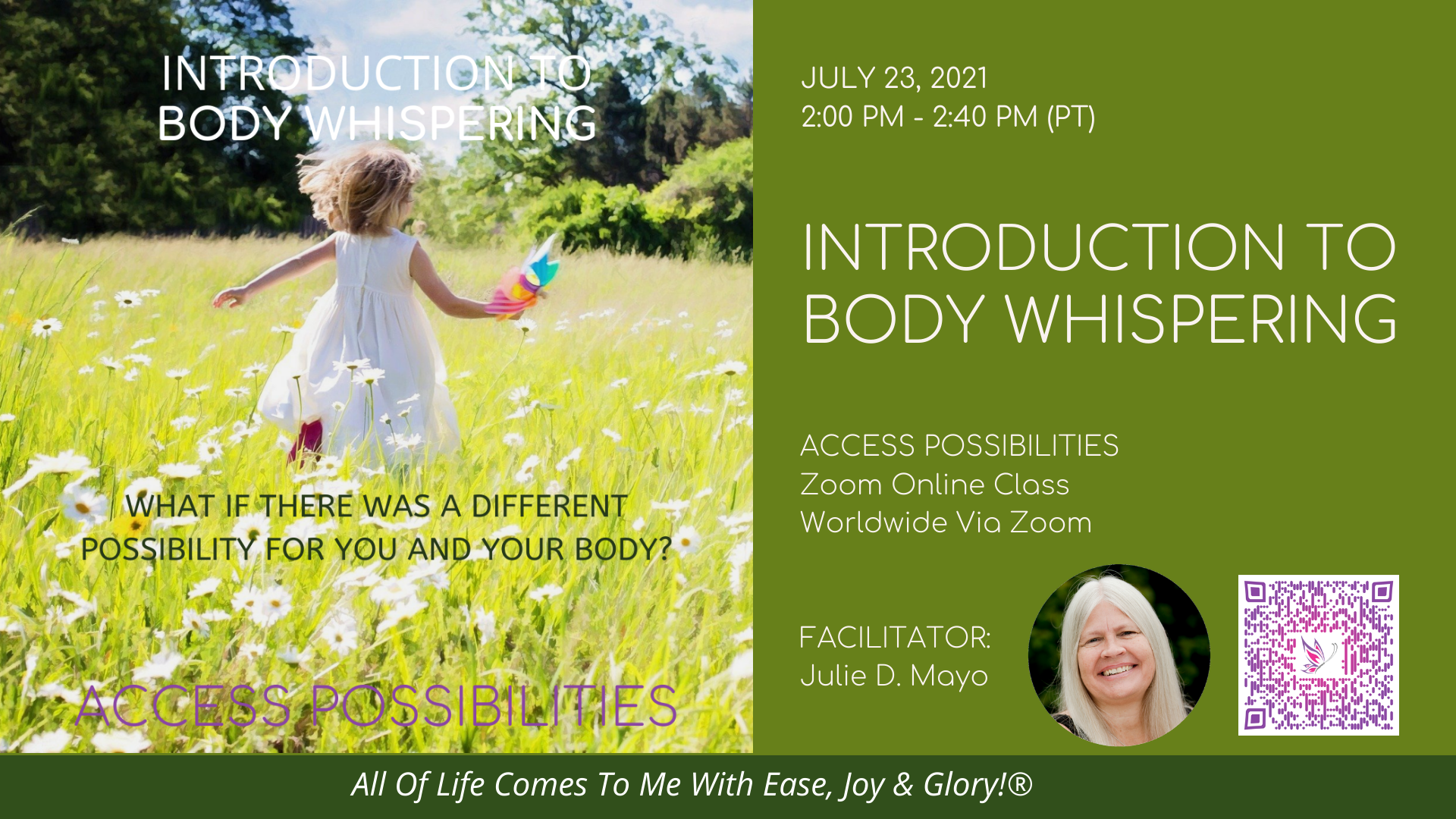 Introduction To Body Whispering Zoom Online Class Details | July 23 | Access Possibilities