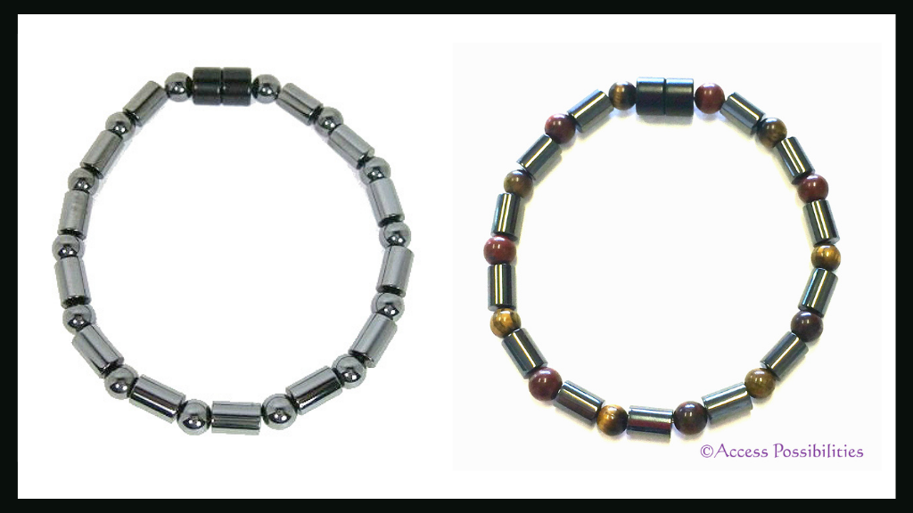 Access Possibilities Handcrafted Cylinder And Round Magnetite Magnetic Bracelet | Customized with Red Jasper & Tiger Eye