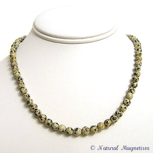 6mm Dalmatian Jasper Gemstone Necklace