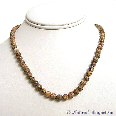 6mm Leopard Skin Jasper Gemstone Necklace