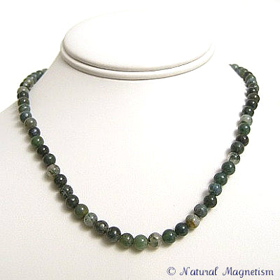 6mm Moss Agate Gemstone Necklace