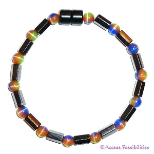 Multi-Color Cat Eye Faceted Magnetite Magnetic Anklet | Access Possibilities