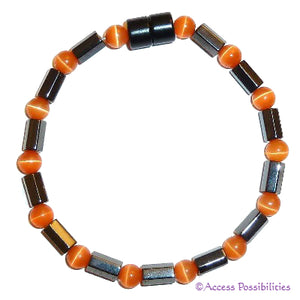 Orange Cat Eye Faceted Magnetite Magnetic Anklet | Access Possibilities