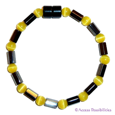 Yellow Cat Eye Faceted Magnetite Magnetic Anklet | Access Possibilities