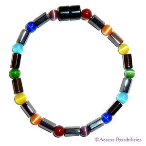 Chakra Cat Eye Faceted Magnetite Magnetic Bracelet | Access Possibilities