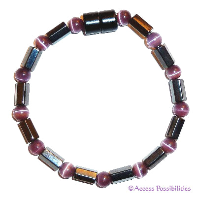 Purple Cat Eye Faceted Magnetite Magnetic Bracelet | Access Possibilities