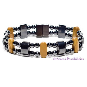 Brown Wood Grain Jasper Double Magnetite Magnetic Bracelet | Magnetic Therapy | Access Possibilities