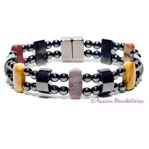 Mookaite Double Magnetite Magnetic Bracelet | Magnetic Therapy | Access Possibilities