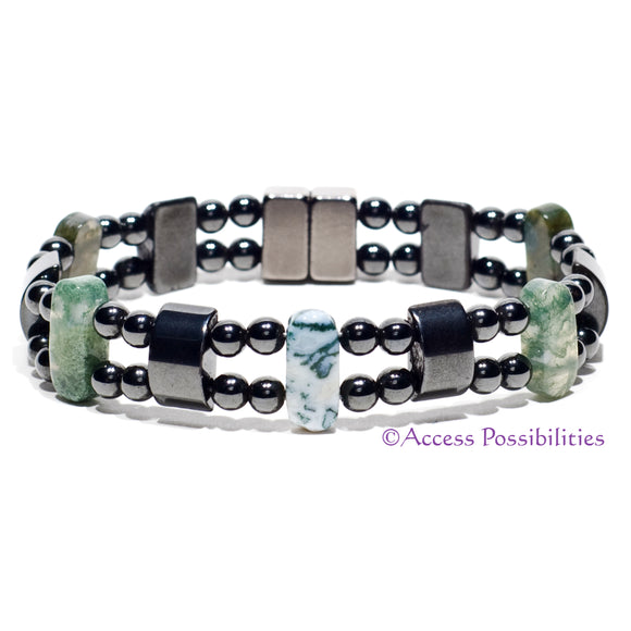 Moss Agate Double Magnetite Magnetic Bracelet | Magnetic Therapy | Access Possibilities