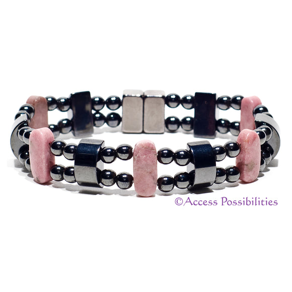 Rhodonite Double Magnetite Magnetic Bracelet | Magnetic Therapy | Access Possibilities