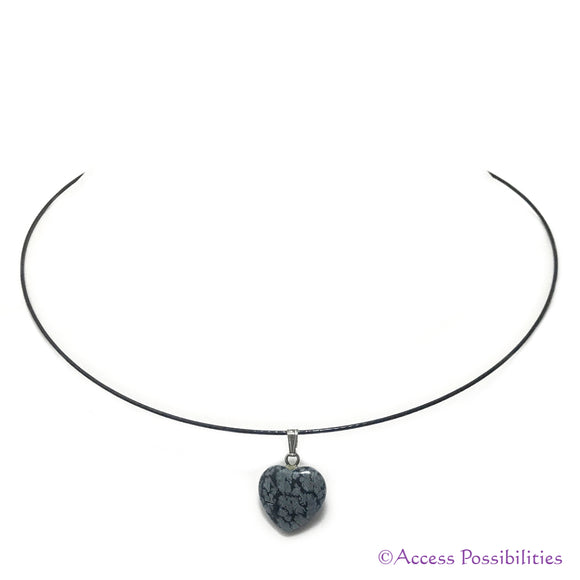 Snowflake Obsidian Gemstone Heart Pendant Necklace | Gemstone Jewelry | Access Possibilities