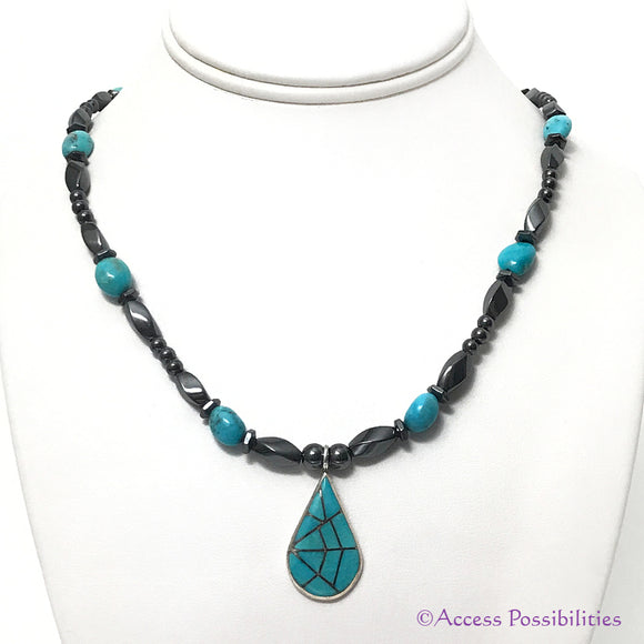 Native American Turquoise Inlay Teardrop Magnetite Magnetic Necklace | Magnetite Jewelry | Access Possibilities