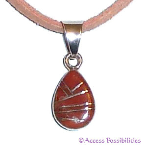 Authentic Native American Coral Teardrop Inlay Pendant