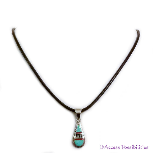 Native American Turquoise Inlay Pendant Necklace | Native American Jewelry | Access Possibilities