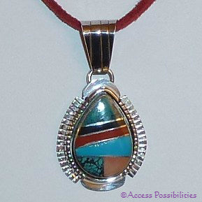 Authentic Handcrafted Native American Turquoise Inlay Pendant
