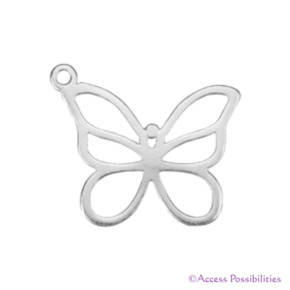 Sterling Silver Cut-Out Butterfly Charm Pendant | Access Possibilities