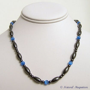 Blue Cat Eye And Rice Magnetite Magnetic Necklace