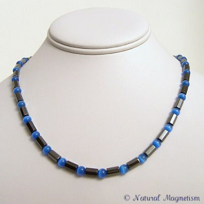 Blue Cat Eye Faceted Magnetite Magnetic Necklace