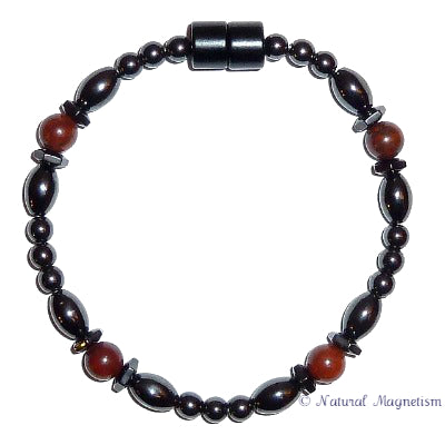 Brecciated Jasper Hex And Rice Magnetite Magnetic Bracelet