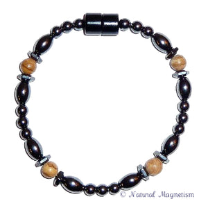 Brown Jasper Hex And Rice Magnetite Magnetic Bracelet