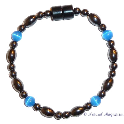 Blue Cat Eye And Rice Magnetite Magnetic Anklet