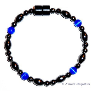 Indigo Cat Eye And Rice Magnetite Magnetic Bracelet