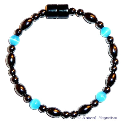 Light Blue Cat Eye And Rice Magnetite Magnetic Anklet
