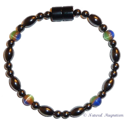 Multi-Color Cat Eye And Rice Magnetite Magnetic Bracelet