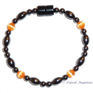 Orange Cat Eye And Rice Magnetite Magnetic Anklet