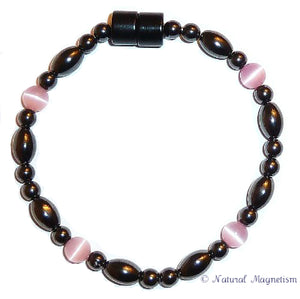 Pink Cat Eye And Rice Magnetite Magnetic Bracelet