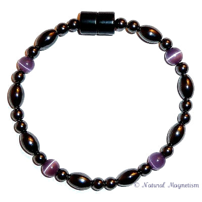 Purple Cat Eye And Rice Magnetite Magnetic Anklet