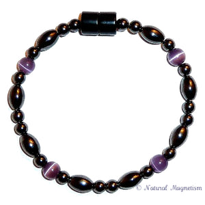 Purple Cat Eye And Rice Magnetite Magnetic Bracelet