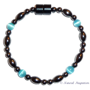 Teal Cat Eye And Rice Magnetite Magnetic Anklet