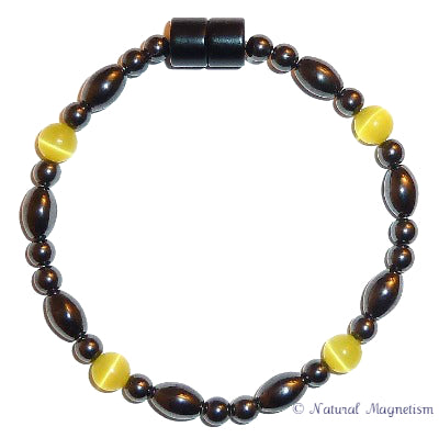 Yellow Cat Eye And Rice Magnetite Magnetic Bracelet