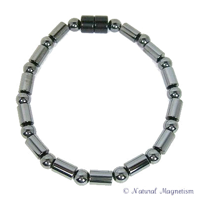 Cylinder And Round Magnetite Magnetic Anklet
