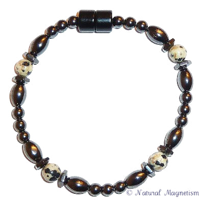 Dalmatian Jasper Hex And Rice Magnetite Magnetic Bracelet